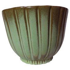 Frankoma Prairie Green Ribbed Planter ~ Model 176