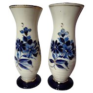 Vintage Royal Dux Ringed Vase Pair ~ Delft Blue