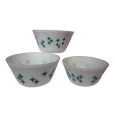 Retro Federal Glass Turquoise Atomic Starburst Diamond Mixing Bowl Set
