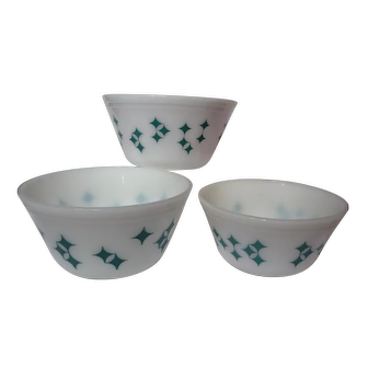 Retro Federal Glass Turquoise Atomic Starburst Diamond Mixing Bowl Set