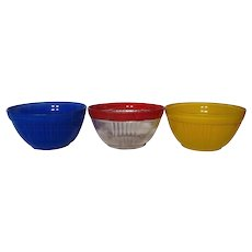 Vintage Hocking Fired On Color Ribbed Bowls