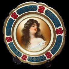 """MZ Austria 9.5"""" Constance Young Lady Portrait Porcelain Plate"""