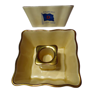 Vintage Royal Winton Churchill Commemorative Candle Holders