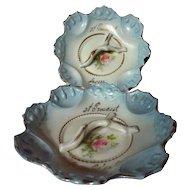 Antique Souvenir German Porcelain Pin Trays