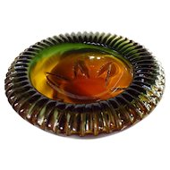 Unusual Lorraine Glass Three Color Crimped Edge Bowl