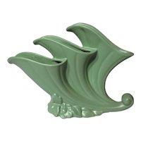 Retro Haeger Matte Green Triple Cornucopia Vase
