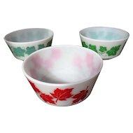 Vintage Trio Hazel Atlas Red Maple Leaf & Green Ivy Breakfast Bowls