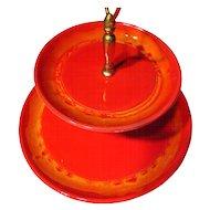 Retro 1970's California Pottery Fire Red Handled Tidbit Tray