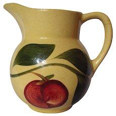 Vintage Watt Pottery Yelloware Red Apple Three Leaf Pitcher