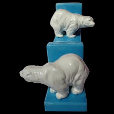 "Vintage ""Made In Japan"" Polar Bear Bookends"