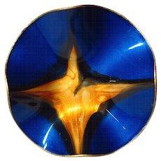 Vintage Mayfair Label Seetusee Art Glass Ruffled Bowl