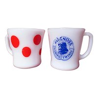 Vintage Fire King Bluenose Twine And Federal Red Polka Dot Milk Glass Mugs