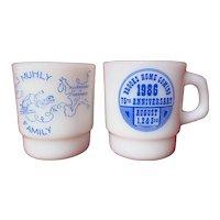 Unusual Pair Anchor Hocking Fire King Custom Logo Milk Glass Mugs