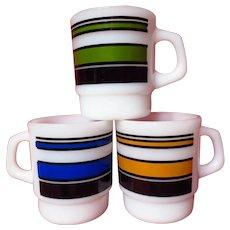 Fire King Super Stripes Trio Milk Glass Mugs