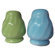 Vintage Medicine Hat Pottery Swirl Salt & Pepper Shakers
