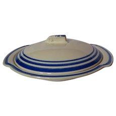 Vernon Kilns Rockwell Kent Salamina Lugged Chowder Bowl & Lid
