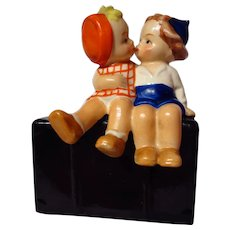 Vintage Goebel Girl And Boy On Suitcase Figurine ~ GF18