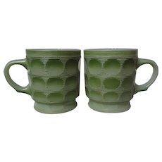 Vintage Pair 1960's Fire King Green Camelot Mugs