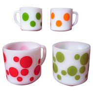 Vintage 1950's Federal Glass Polka Dot Mugs ~ Set of 4