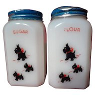 McKee Red Bow Scotty Dog Flour And Sugar Shakers