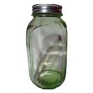 Vintage Hocking Transparent Green Smooth Sided 40oz Canister