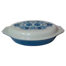 Pyrex Blue Horizon Covered Double Casserole Dish