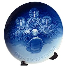 """Bing & Grondahl """"Happiness over the Yule Tree"""" 1980 Christmas Jubilee Plate"""