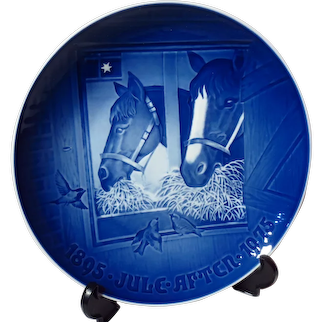 """Bing & Grondahl """"Christmas Night in the Stable"""" Limited Edition 1975 Christmas Jubilee Plate"""