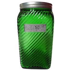 Vintage Owens-Illinois Emerald Green Ruff N Ready Flour Canister