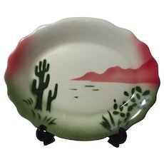 Jackson China Restaurant Ware Airbrushed Cactus Pattern Fluted Platter