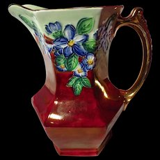 Maling Cranberry Lustre Embossed Blossom Bough Hexagonal Jug