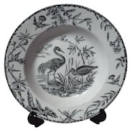 Ridgway Indus Aesthetic Movement Black Transferware Soup Plate