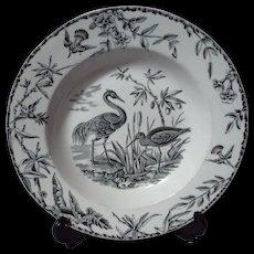 Ridgway Indus Aesthetic Movement Black Transferware Soup Plate