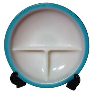 Vintage Fire King Ivory Child's Dish Turquoise Trim