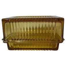 Vintage Federal Glass Amber One Pound Butter Dish