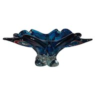 Chalet Signed Aquamarine Blue Four Point Cigar Ashtray