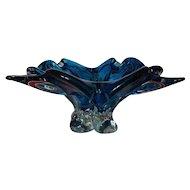 Chalet Signed Aquamarine Blue Four Point Cigar Ashtray