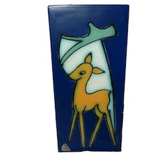 Abstract Flora Gouda Deer Wall Plaque