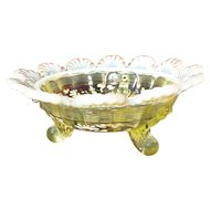 Northwood Vaseline Opalescent Klondyke Footed Bowl