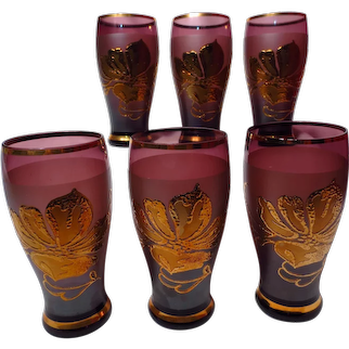 Moser Bohemian Glass Amethyst And Gilt Tumblers
