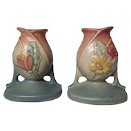 Hull Pottery Magnolia Matte Candle Holders ~ Model 27-4