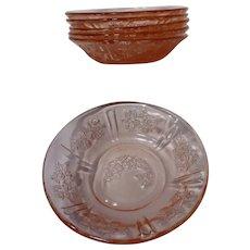 Federal Glass Pink Sharon Cabbage Rose Set of Six Fruit Bowls