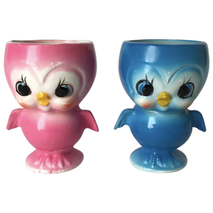Anthropomorphic Bluebird Egg Cups