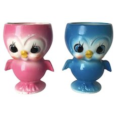 Vintage Anthropomorphic Bluebird Egg Cups