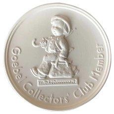 Goebel Collectors Club Member Plaque 1976
