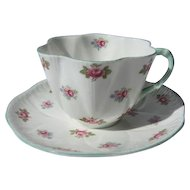 Shelley Rosebud Dainty Shaped Cup and Saucer