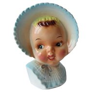 Vintage Sweet Baby Girl Head Vase - Blue Bonnet
