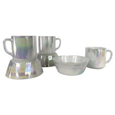 Federal Glass Moonglow Iridescent Breakfast Sets
