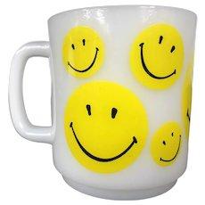 Vintage Smiley Face Milk Glass Mug