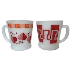 """Vintage Red Fire King """"D"""" Handle Mugs"""